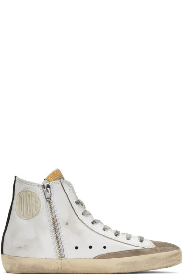 Golden Goose - White & Black Flag Francy High-Top Sneakers