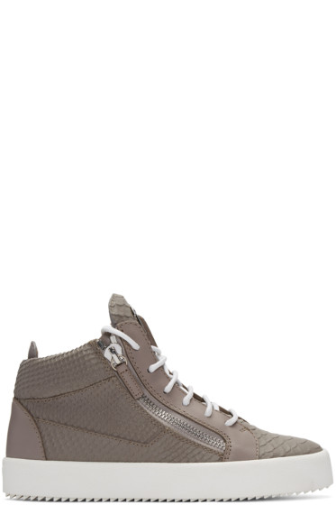 Giuseppe Zanotti - Grey Python-Embossed London High-Top Sneakers