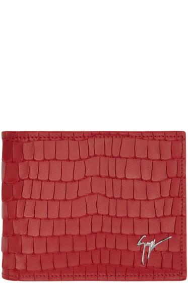 Giuseppe Zanotti - Red Croc-Embossed Zayn Wallet