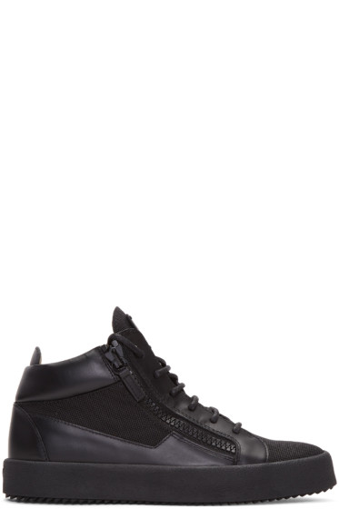 Giuseppe Zanotti - Black Leather & Mesh London High-Top Sneakers
