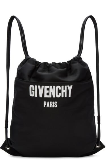Givenchy - Black Logo Drawstring Backpack