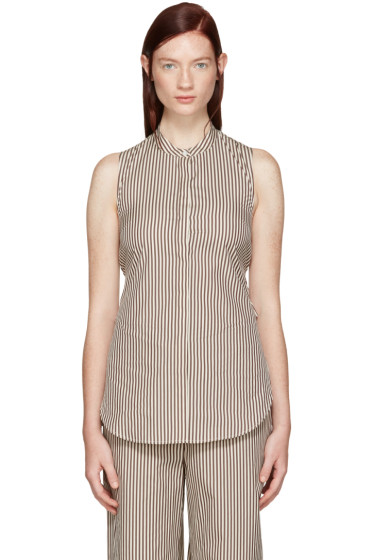 3.1 Phillip Lim - White & Brown Stripe Twist Back Shirt