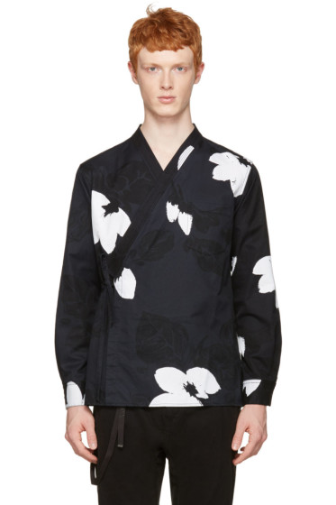 3.1 Phillip Lim - Black Floral Kimono Shirt