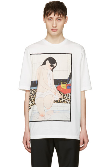 3.1 Phillip Lim - White Woman Leopard T-Shirt