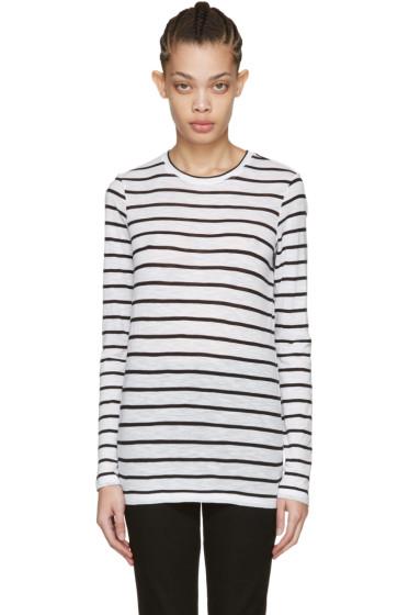 Proenza Schouler - White Long Sleeve Pinstripe T-Shirt