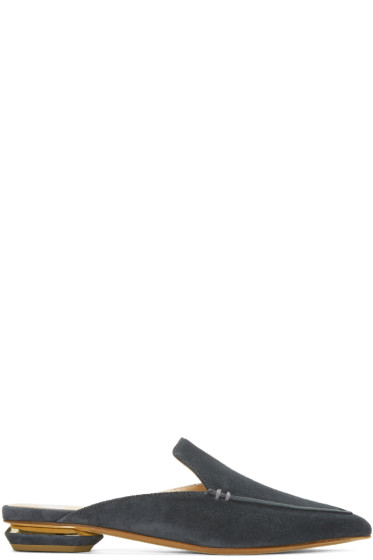 Nicholas Kirkwood - SSENSE Exclusive Grey Suede Beya Slip-On Loafers