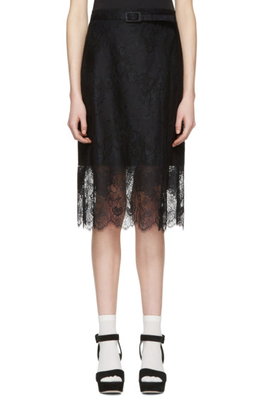 Carven - Black Belted Lace Dress