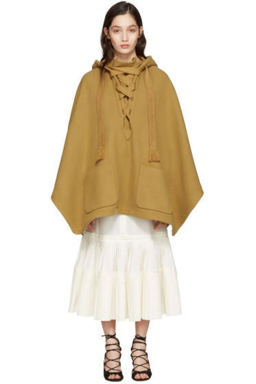 Chloé - Brown Oversized Lace-Up Poncho
