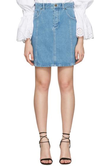 Chloé - Blue Denim Scalloped Skirt