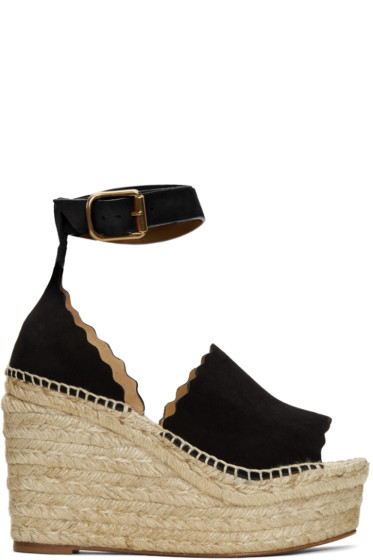 Chloé - Black Suede Lauren Espadrille Wedge Sandals
