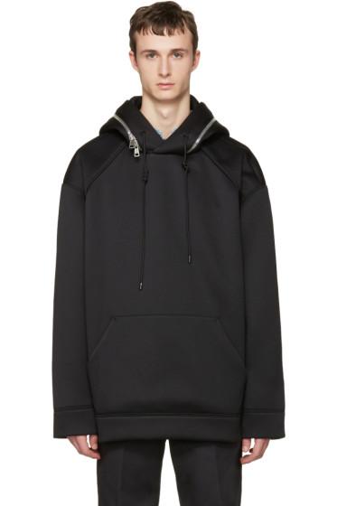 Juun.J - Black Oversized Zip-Around Hoodie