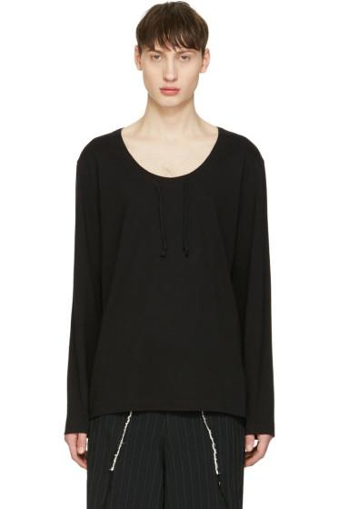 Comme des Garçons Homme Plus - Black Drawstring Long Sleeve T-Shirt