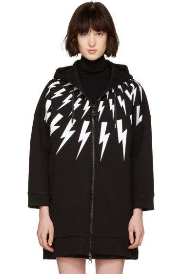 Neil Barrett - Black Oversized Thunderbolt Fairisle Dress