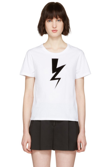 Neil Barrett - White Thunderbolt Patch T-Shirt