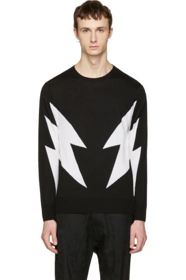 Neil Barrett - Black Merino Thunderbolt Pullover