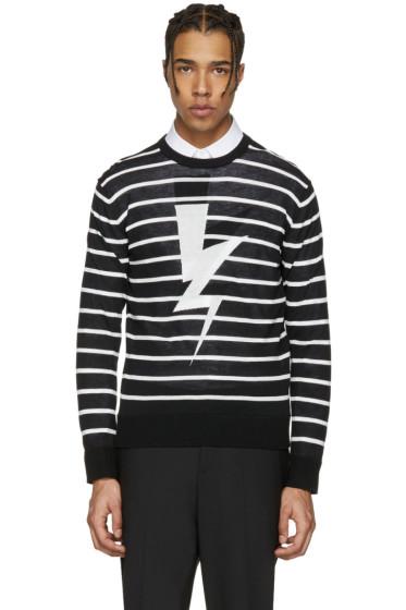 Neil Barrett - Black Striped Thunderbolt Pullover
