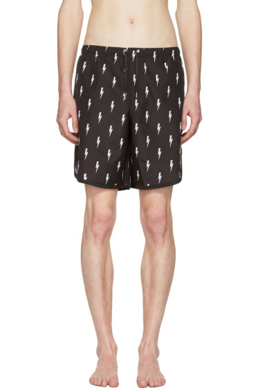 Neil Barrett - Black & White Thunderbolt Swim Shorts