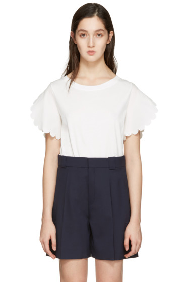 See by Chloé - White Scalloped Sleeves T-Shirt