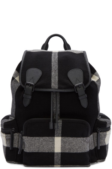 Burberry - Black Large Wool Check Rucksack