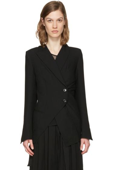 Ann Demeulemeester - Black Asymmetric Wool Blazer