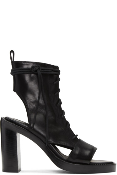 Ann Demeulemeester - Black Leather Boot Sandals