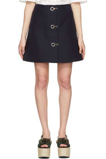 Marni - Navy Button Down Miniskirt
