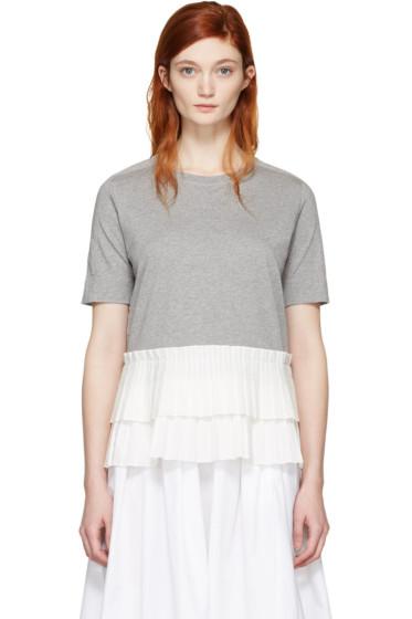 Marni - Grey Pleated Hem T-Shirt