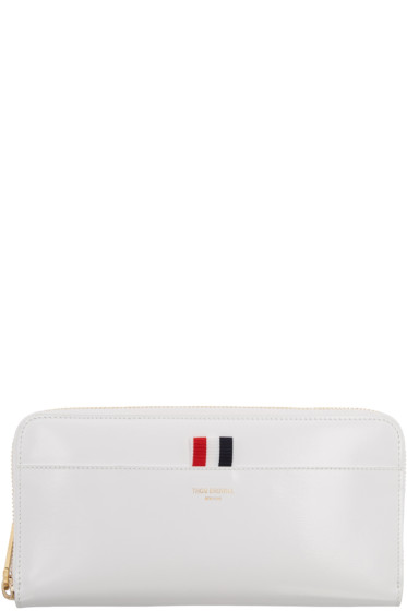 Thom Browne - White Long Zip Around Wallet