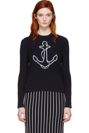 Thom Browne - Navy Crewneck Anchor Pullover