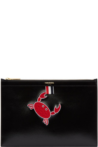 Thom Browne - Black Small Embroidered Tablet Holder