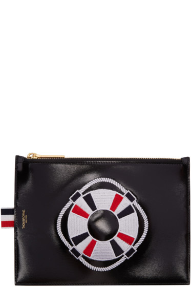 Thom Browne - Black Large Embroidered Pouch