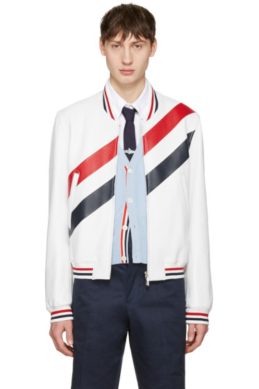 Thom Browne - White Stripe Varsity Jacket