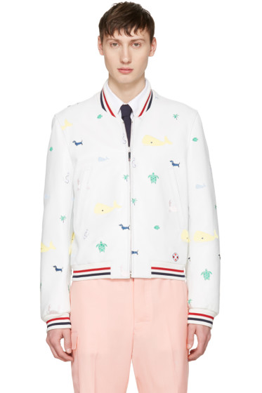 Thom Browne - White Funmix Icon Varsity Jacket