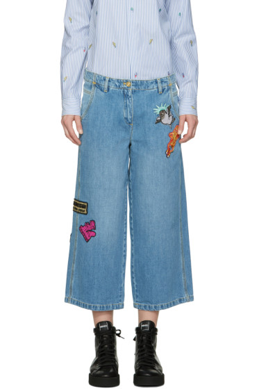 Kenzo - Blue Embroidered Cropped Jeans