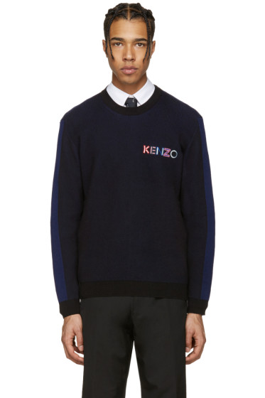 Kenzo - Black & Navy Embroidered Ribbed Pullover