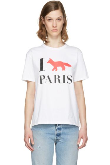 Maison Kitsuné - White 'I Fox Paris' T-Shirt