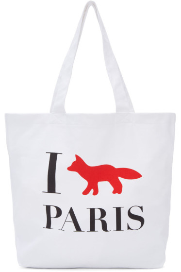 Maison Kitsuné - White 'I Fox Paris' Tote