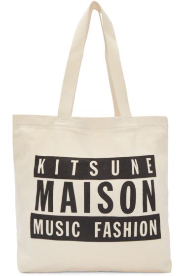 Maison Kitsuné - SSENSE Exclusive Off-White Maison 18 Tote