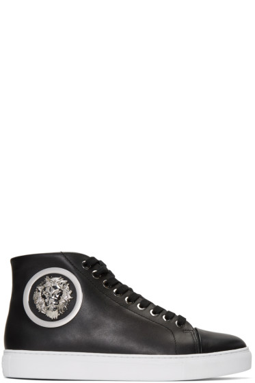 Versus - Black Lion Medallion Mid-Top Sneakers