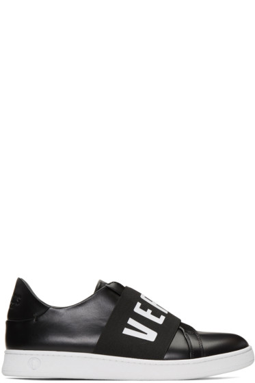 Versus - Black Logo Band Slip-On Sneakers