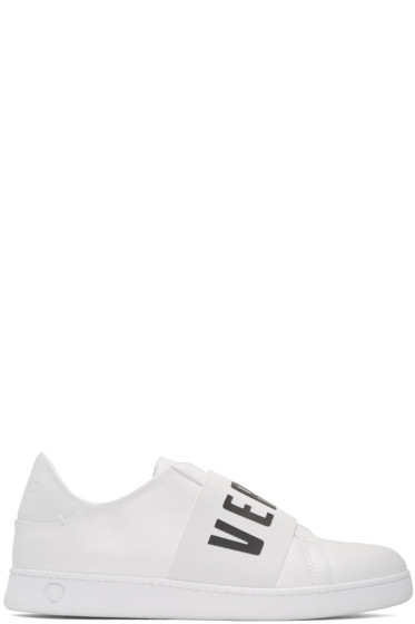 Versus - White Logo Band Slip-On Sneakers
