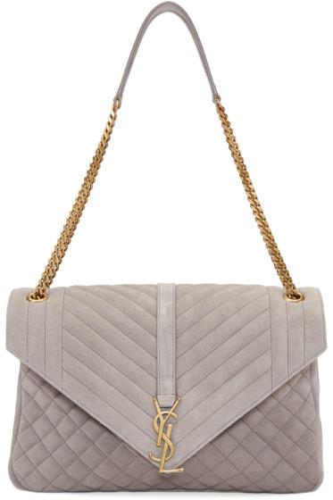 Saint Laurent - Grey Suede Large Monogram Chain Bag