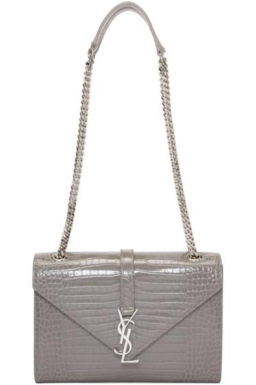 Saint Laurent - Grey Croc-Embossed Medium Monogram Chain Bag