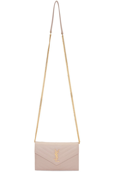 Saint Laurent - Pink Monogram Envelope Chain Wallet Bag
