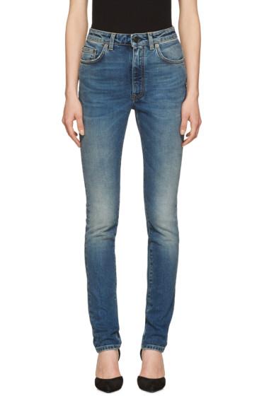 Saint Laurent - Indigo High Waisted Skinny Jeans