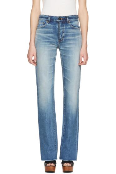 Saint Laurent - Blue Cropped Flared Jeans