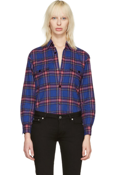 Saint Laurent - Blue Check Oversized Shirt
