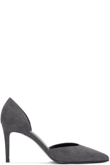 Saint Laurent - Grey Suede Paris Skinny D'Orsay Heels