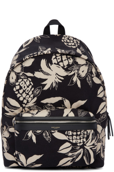 Saint Laurent - Black & Off-White Hibiscus City Backpack