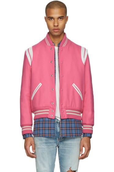 Saint Laurent - Pink Wool Teddy Bomber Jacket